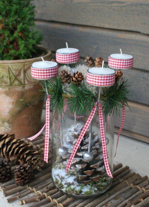 Das lustige Adventsquartett mit vier Teelichthaltern / Foto und Design ...